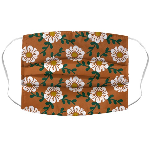 Retro Flowers and Vines Rust Orange Accordion Face Mask