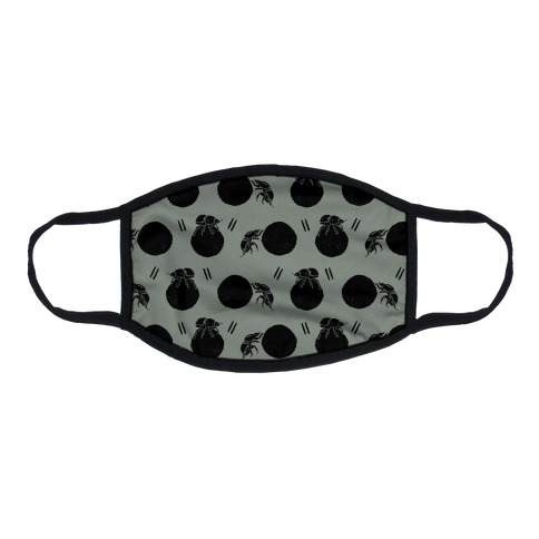 Dung Beetle Pattern Grey Flat Face Mask