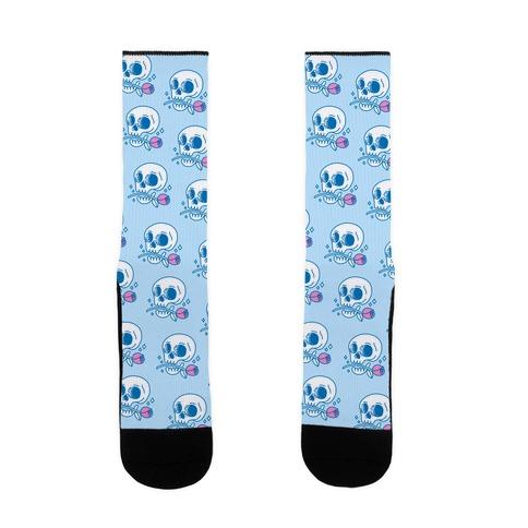 Hopeless Romantic Skull Sock