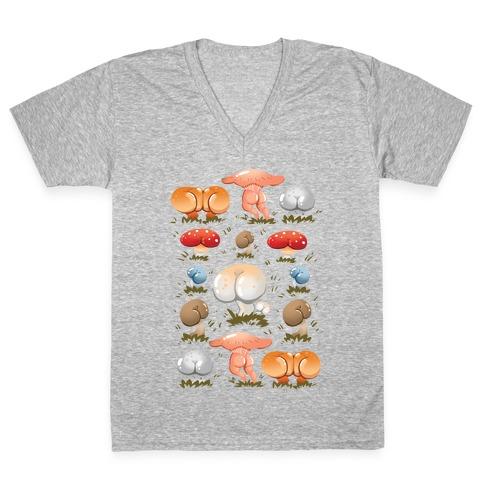 Butt Mushroom Pattern V-Neck Tee Shirt