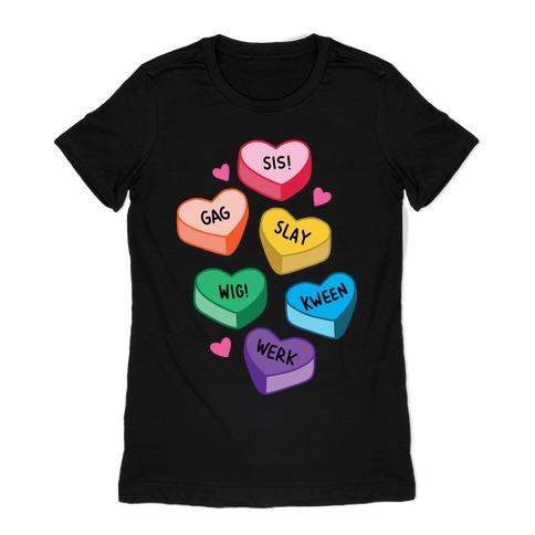 Gay Lingo Candy Hearts Womens T-Shirt