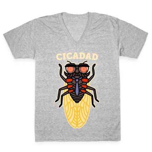 CicaDad Dad Cicada V-Neck Tee Shirt