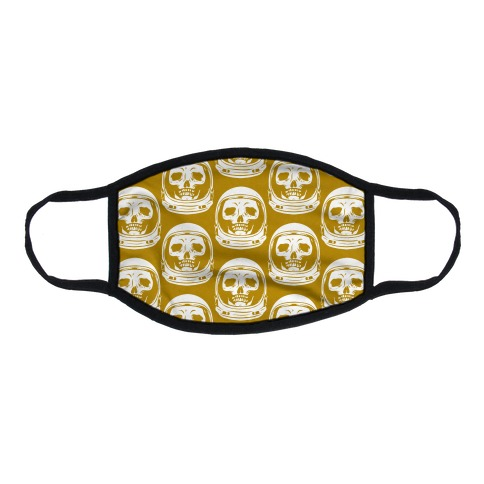 Skulls in Astronaut Pattern Mustard Yellow Flat Face Mask