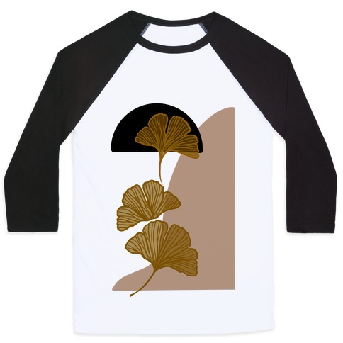 Minimalist Ginkgo Leaf Illustration Baseball Tee