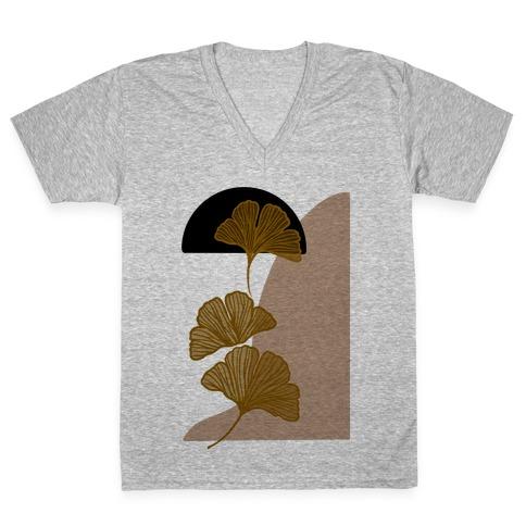 Minimalist Ginkgo Leaf Illustration V-Neck Tee Shirt