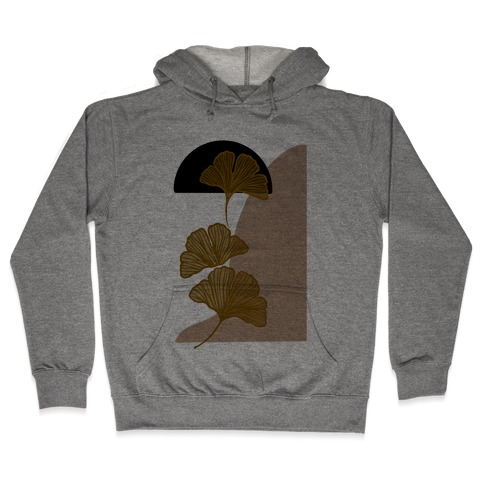 Minimalist Ginkgo Leaf Illustration Hooded Sweatshirt