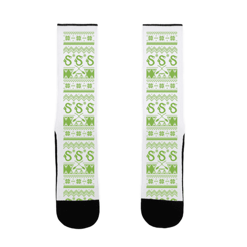 Hogwarts Ugly Christmas Sweater: Slytherin Sock