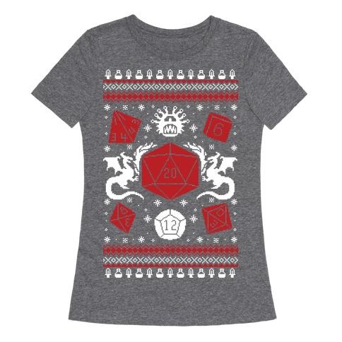 D&D Ugly Sweater Womens T-Shirt
