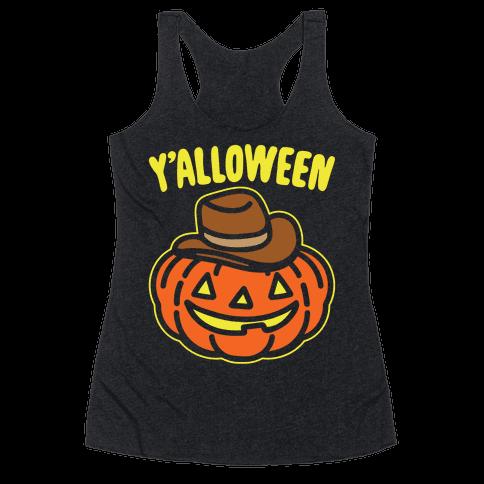 Y'alloween Halloween Country Parody White Print Racerback Tank Top