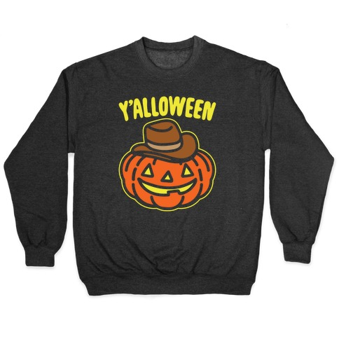 Y'alloween Halloween Country Parody White Print Pullover