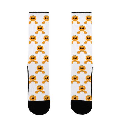 Shy Emoji Jack-o-Lantern Sock