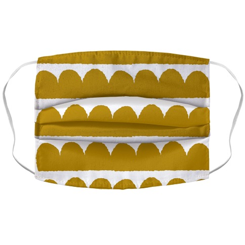 Simple Scalloped Lines Pattern Mustard Yellow Accordion Face Mask