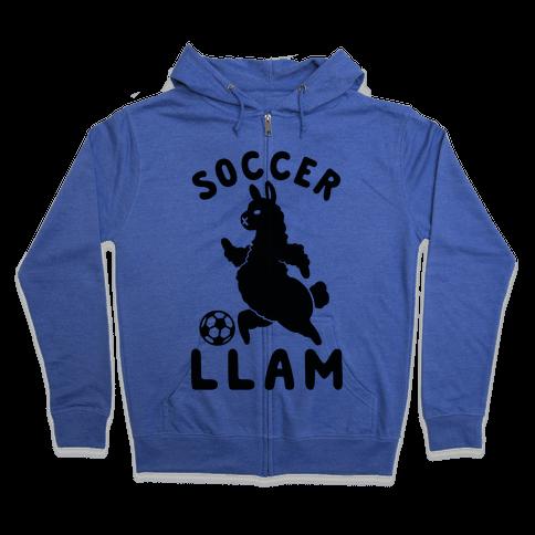 Soccer Llam Zip Hoodie