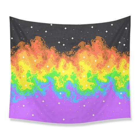 Psychedelic Nebula Pride Flag Tapestry