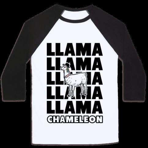 Llama Chameleon Baseball Tee