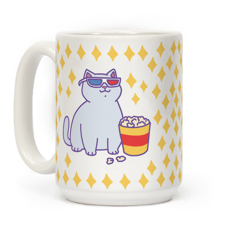 Fat Cat With Popcorn Coffee Mug