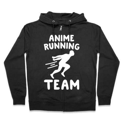 Anime Running Team White Print Zip Hoodie