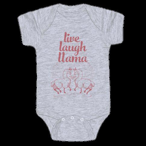 Live, Laugh, Llama Baby Onesy