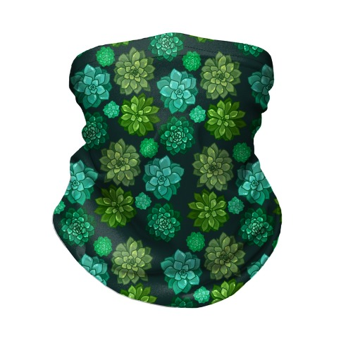 Green Succulent Pattern Neck Gaiter