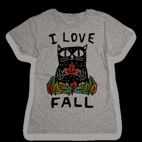 I Love Fall Cat Womens T-Shirt