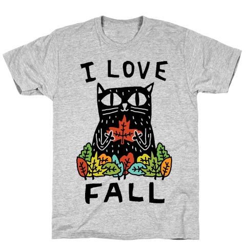 I Love Fall Cat Mens/Unisex T-Shirt
