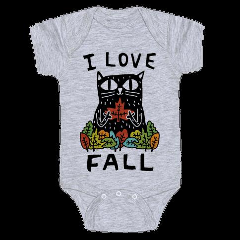 I Love Fall Cat Baby Onesy