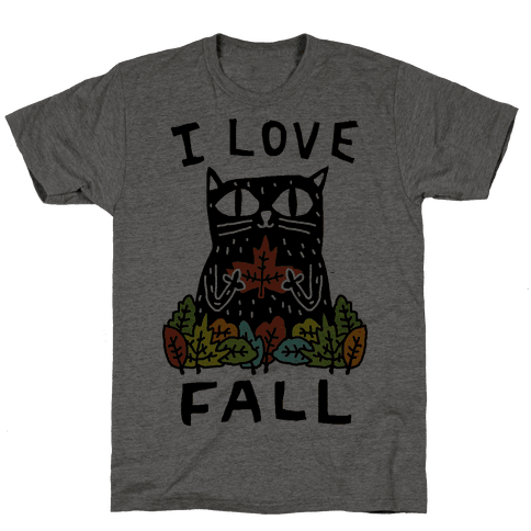 I Love Fall Cat Mens T-Shirt