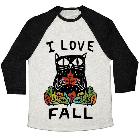 I Love Fall Cat Baseball Tee