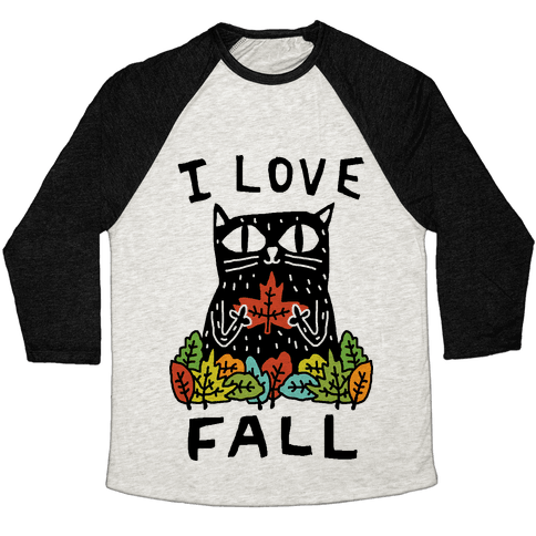 I Love Fall Cat Baseball Tee