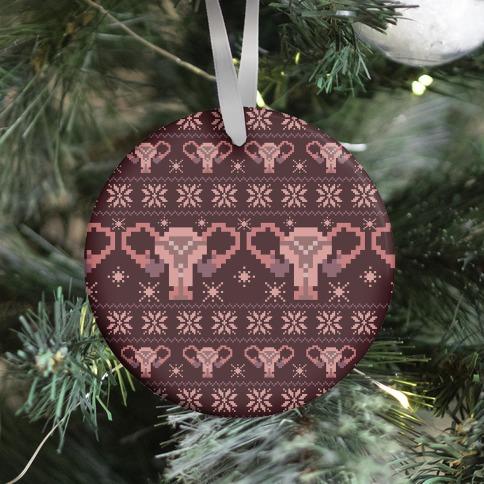 Uterus Sweater Pattern Ornament