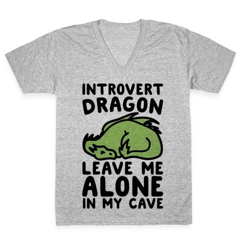 Introvert Dragon V-Neck Tee Shirt