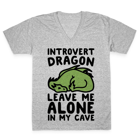 Introvert Dragon  V-Neck Tee Shirt