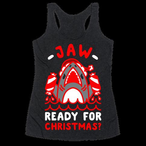 Jaw Ready For Christmas? Santa Shark Racerback Tank Top