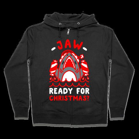 Jaw Ready For Christmas? Santa Shark Zip Hoodie