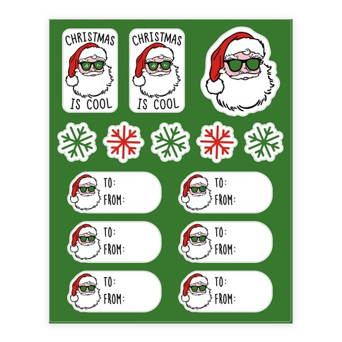 Christmas Is Cool Gift Tags Sticker/Decal Sheet