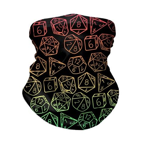 RPG Dice Rainbow on Black Neck Gaiter
