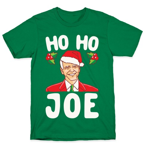 Ho Ho Joe Parody White Print T-Shirt