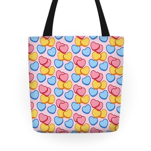 Candy Hearts Pattern Pink Tote