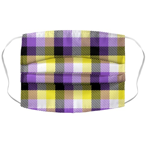 Nonbinary Pride Flag Plaid Accordion Face Mask