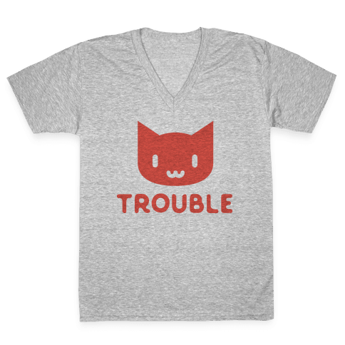 Trouble Cat V-Neck Tee Shirt