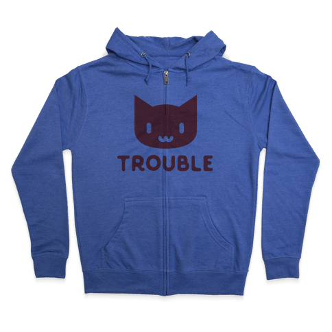 Trouble Cat Zip Hoodie
