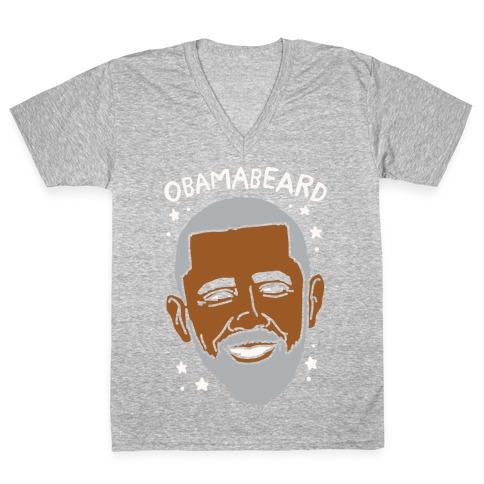 Obamabeard White Print V-Neck Tee Shirt