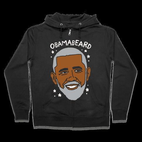 Obamabeard White Print Zip Hoodie