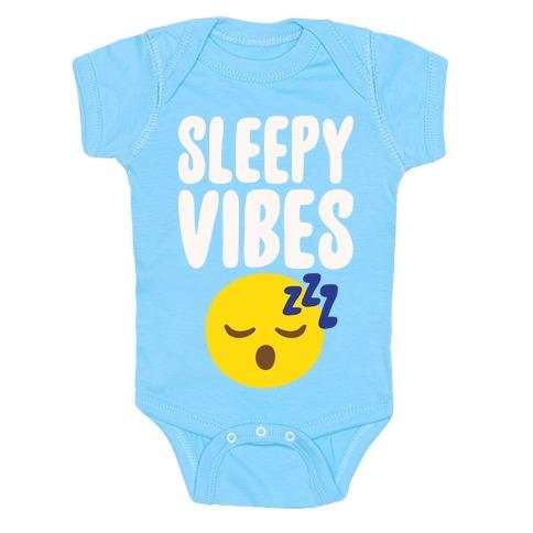 Sleepy Vibes White Print Baby Onesy