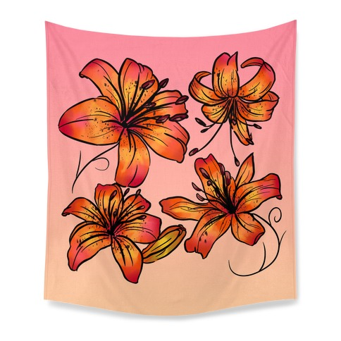 Sunset Tiger Lillies Pattern Tapestry