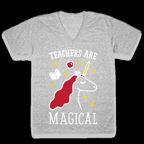 Teachers Are Magical (White) V-Neck Tee Shirt