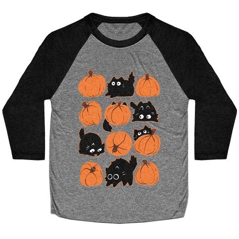 Pumpkin Cats Baseball Tee