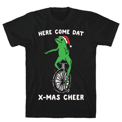 Here Come Dat X-mas Cheer White Print Mens T-Shirt