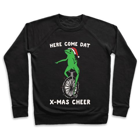Here Come Dat X-mas Cheer White Print Pullover