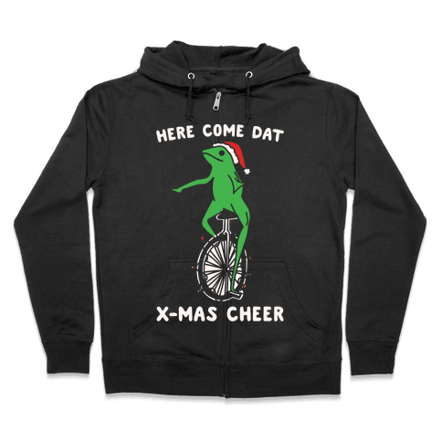 Here Come Dat X-mas Cheer White Print Zip Hoodie